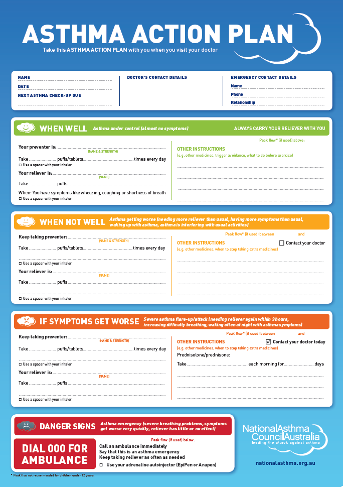 My asthma action plan template for Asthma management plan template